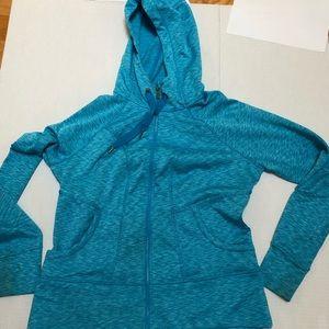 ATHLETA: light blue zip up hoodie